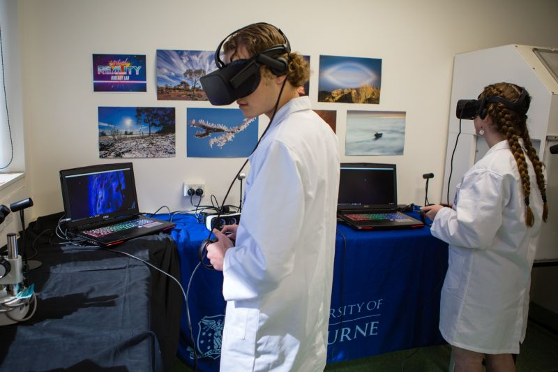 Biology students using the Oculus Rift during class