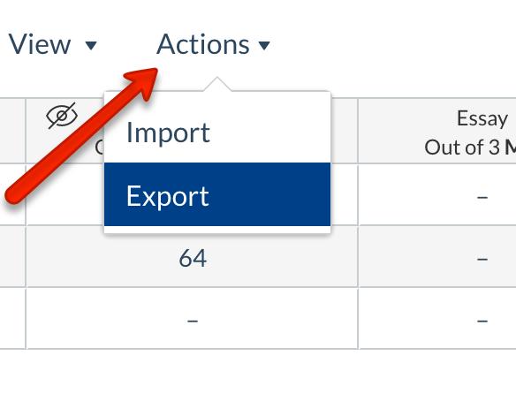 Gradebook export screenshot