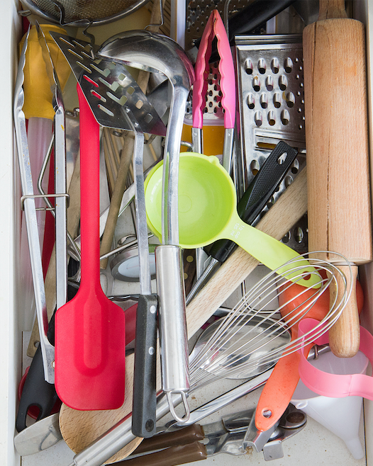 Cluttered cutlery drawer