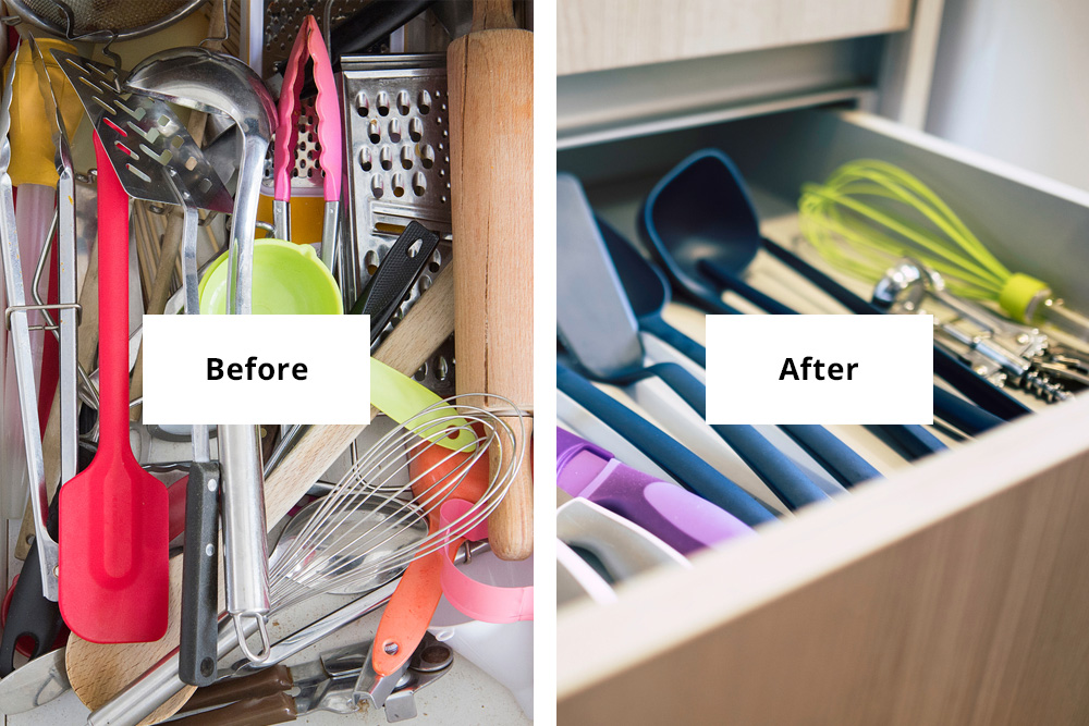 Before and after of cutlery drawer organisation