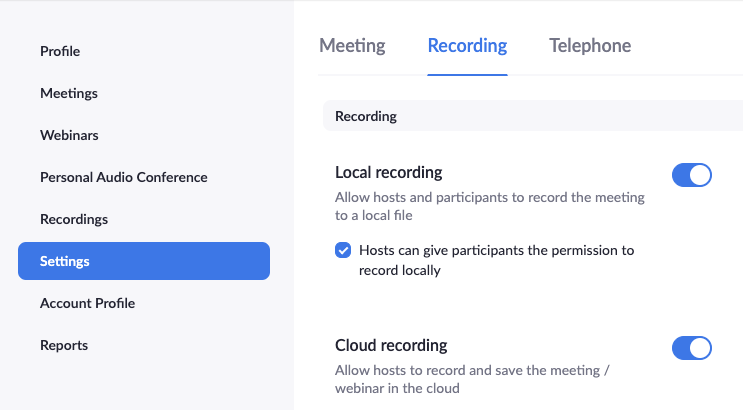 Location of enable cloud recording setting