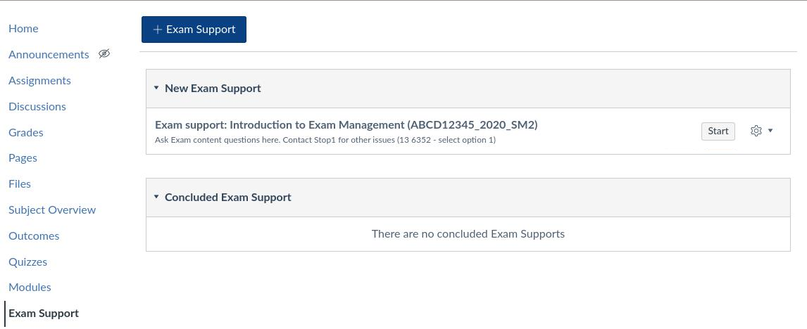 Exam Support chat tool