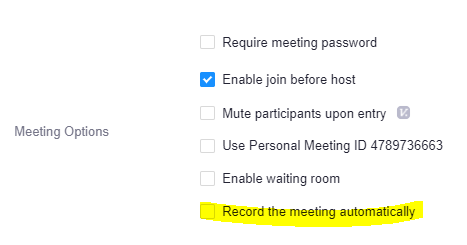 Location of 'Record the meeting automatically' setting