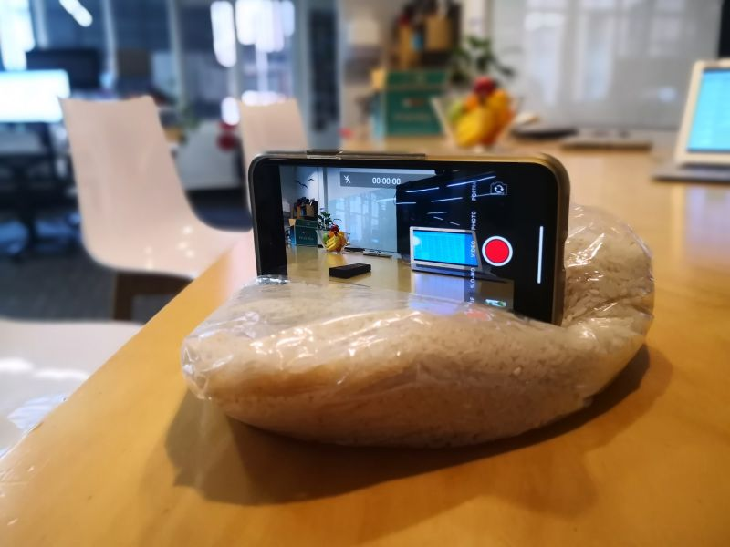 Using a bag of rice as a phone camera tripod