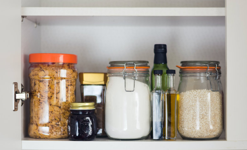 Organised pantry with dry ingredients