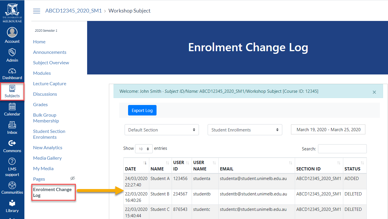 Enrolment change log in Canvas