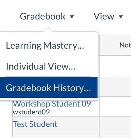 Gradebook history setting screenshot